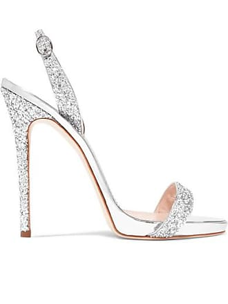 3cb59598eb747 Giuseppe Zanotti Coline Glittered Metallic Leather Slingback Sandals -  Silver