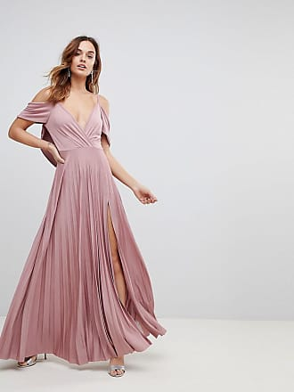 Asos ASOS Cold Shoulder Cowl Back Pleated Maxi Dress - Pink