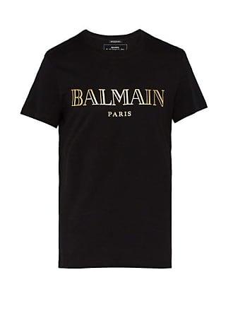 Balmain Logo Cotton T Shirt - Mens - Black Gold