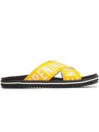Opening Ceremony Opening Ceremony Woman Berkeley Logo-print Faux Leather Slides Yellow Size 36