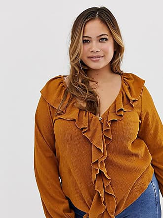 9003b79e13676b Asos Curve ASOS DESIGN Curve top with button front and ruffle in textured  fabric