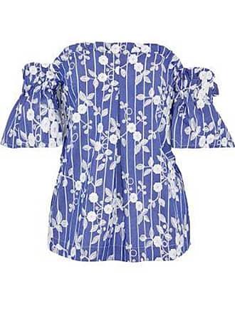 110133f8d6c Nicholas Nicholas Woman Off-the-shoulder Embroidered Cotton-blend Chambray  Top Blue Size
