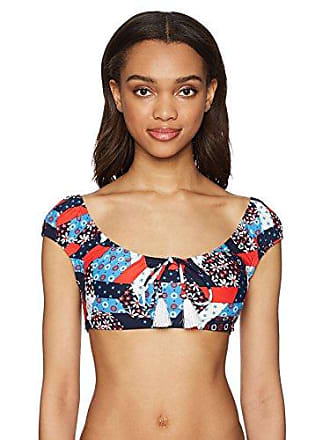 06b9587514 Tommy Hilfiger Womens Wanderlust Patchwork Off The Shoulder Bikini Top,  core Navy, Small