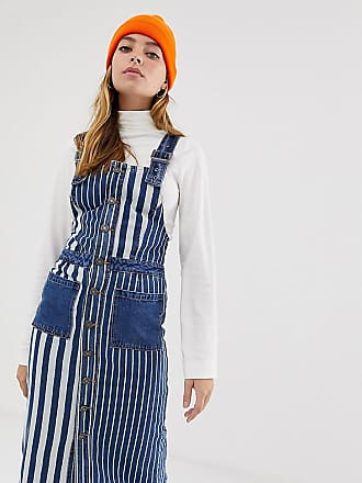 Noisy May stripe denim pinnafore dress-Blue