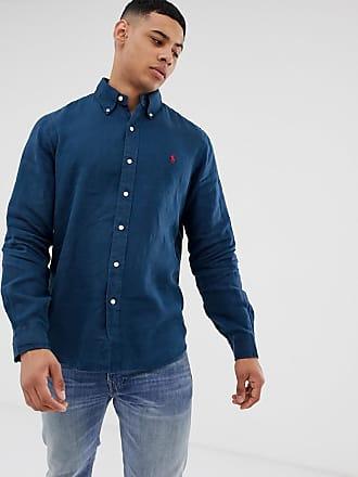 b3f9b31c Polo Ralph Lauren player logo pocket linen shirt custom regular fit in navy