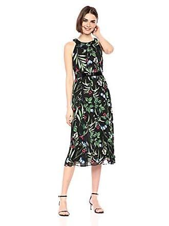 Tommy Hilfiger Womens Coin TOSS Chiffon Long Dresses, Black/Fern, 12