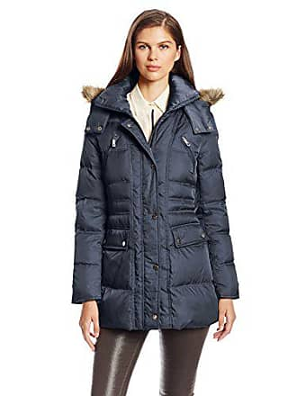 ec584fc58478 Kenneth Cole New York Womens Matte Satin Short Down Coat, Midnight, Medium