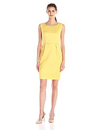 Ellen Tracy Womens Cap Sleeve Sheath Dress with Embellished Neckline, Yellow, 6