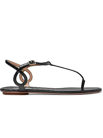 1c31bcbdd61 Aquazzura Almost Bare Croc-effect Leather Sandals - Black