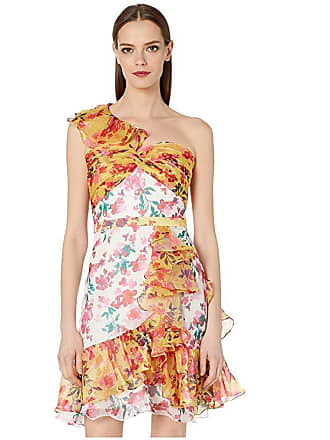 9109d313c6e Marchesa One Shoulder Color Blocked Printed Cocktail Dress (Ivory) Womens  Clothing