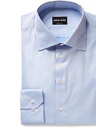 Giorgio Armani Light-blue Cotton-twill Shirt - Light blue