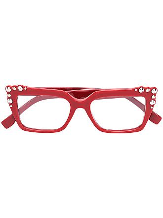 Fendi Óculos quadrado com tachinhas - Vermelho