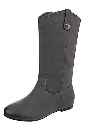 5d943a28bdfeaa Ital-Design Klassische Stiefel Damen-Schuhe Klassischer Stiefel Blockabsatz Warm  Gefütterte Reißverschluss Stiefel Grau