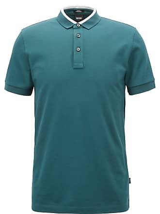 9eb7f4ff BOSS Hugo Boss Slim-fit polo shirt in cotton piqué colorblock collar XXXL  Dark Green