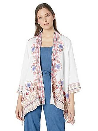 Johnny Was Womens 3/4 Sleeve Draped Cardigan with Embroidery, White, XL