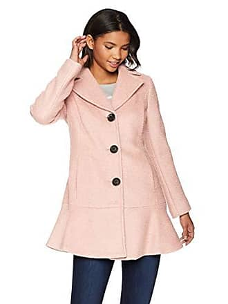 Kensie Womens Casual Thigh Length Button Closure Wool Coat, Blush Medium