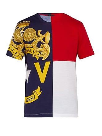 Versace Logo Print Panelled Cotton T Shirt - Mens - Multi