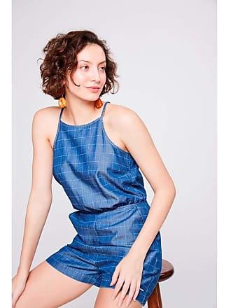 Damyller Macacão Jeans Xadrez Curto Feminino Tam: 38 / Cor: BLUE
