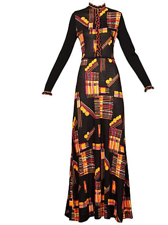 7d9b4654ff 1stdibs 1970s Vintage 100% Wool Knit Maxi Dress With Vibrant Mid-century  Print