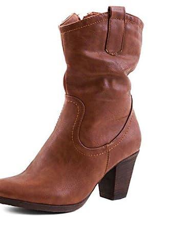 92a0a6453111de Marimo Damen Stiefel Stiefeletten Western Biker Boots Lederoptik Camel 36