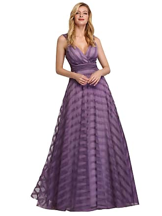 0dcfc2c4bd57 Ever Pretty Womens Deep V Neck Floor Length A Line Empire Waist Long  Striped Tulle Elegant