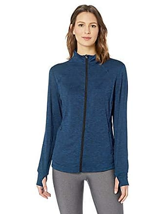 Amazon Essentials Womens Brushed Tech Stretch Full-Zip Jacket, Navy Space dye, X-Small