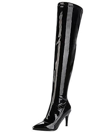 09a504a9220b1f Aiyoumei Damen Spitz Zehen Lack Stiletto High Heels Overknee Stiefel  Eelgant Winter Langschaft Stiefel Schuhe