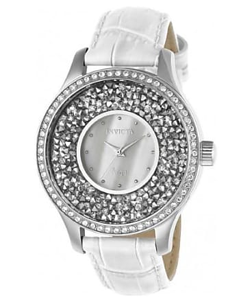 Invicta 24591 Womens Angel White Oyster Dial White Leather Strap Crystal Watch