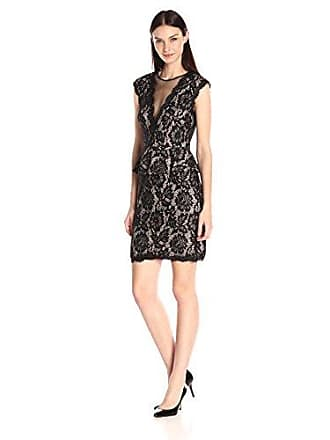 Betsy & Adam Womens Peplum All Over Lace with Open Back Short, Black/Nude 12