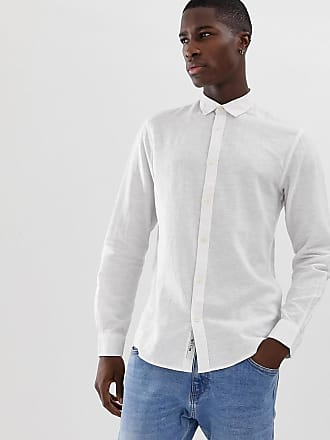 e5774b4b6b05 Only & Sons slim fit linen mix shirt in white - White