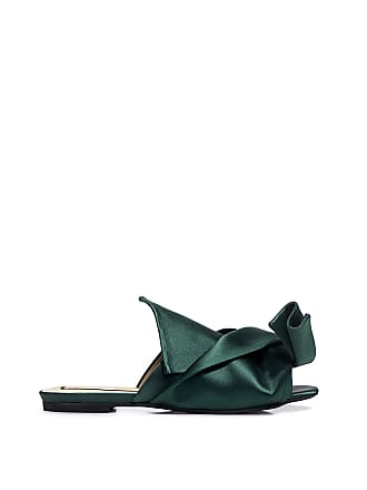 N°21 Knotted Satin Flat Sandals Forest Green