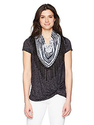 Oneworld Womens Short Sleeve Stripe Knot Top with Scarf, Alternate Shadows- Black, Large