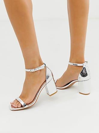 Glamorous Silberne Sandalen mit Blockabsatz