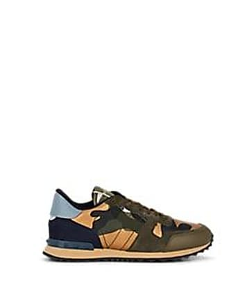 Valentino Mens Rockrunner Leather & Suede Sneakers - Olive Size 11 M