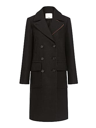 Tibi Felted Wool Double Breasted Coat Grey