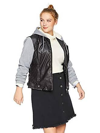 Yoki Womens Plus Size Faux Leather Jacket with Fleece Sleeves and Hood, Black, 2X