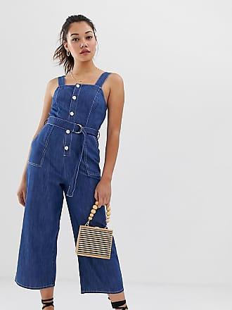 41dd9d6380b5 Miss Selfridge Tuta jumpsuit lunga di jeans stile scamiciato lavaggio medio  - Blu