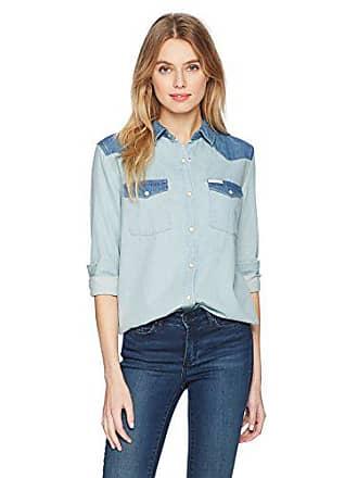 60018936 Calvin Klein Jeans Womens Long Sleeve Denim Button Down Shirt, iris wash,  Large