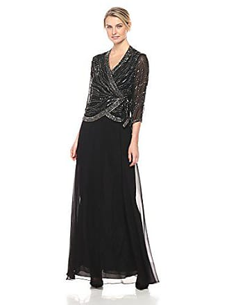 J Kara Womens Long 3/4 Sleeve V-Neck Beaded Faux Wrap Dress, Black/Mercury, 6