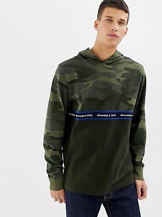 8c2de77cfb Abercrombie   Fitch camo colourblock chest logo tape hoodie in green