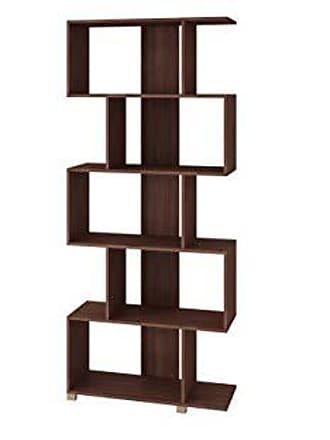 Manhattan Comfort 18AMC164 Petrolina Midcentury Modern Zig Zag Bookshelf, Nut Brown