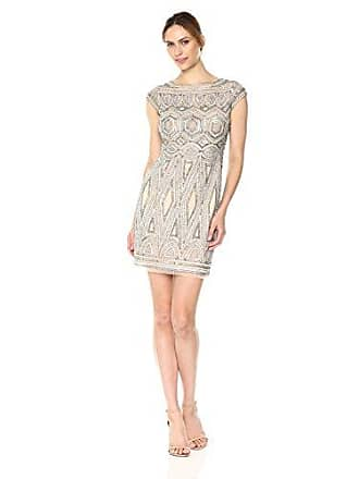 abd1e0777831 Aidan Mattox Womens Geometric Beaded Cocktail with Cap Sleeve, Champagne 2
