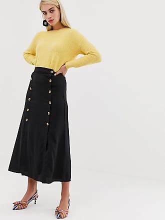 Vero Moda double split button front midaxi skirt in black - Black