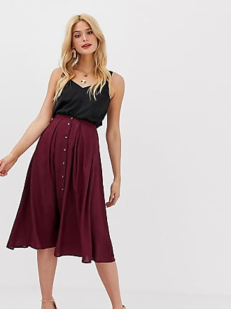 d7815605e0 Asos Tall ASOS DESIGN Tall button front floaty midi skirt with pleats -  Purple