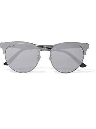 Gucci Gucci Woman Round-frame Gunmetal-tone Mirrored Sunglasses Anthracite Size