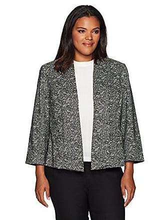 Kasper Womens Plus Size Pattern Woven Jacket, Black/Ivory, 22W