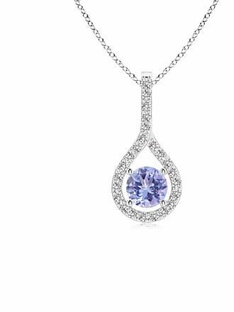 Angara Valentine Day Sale - Floating Tanzanite Drop Pendant with Diamond Accents