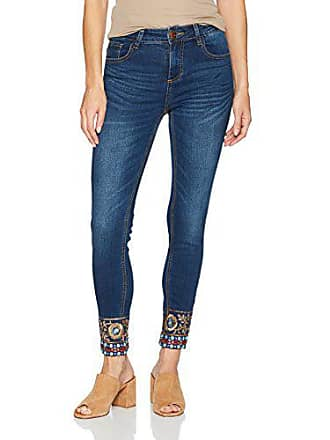 Desigual Denim Exotic Papping Ankle, Skinny Jeans Femme, Bleu (Peacoat  5189), W24 96842ed17c6
