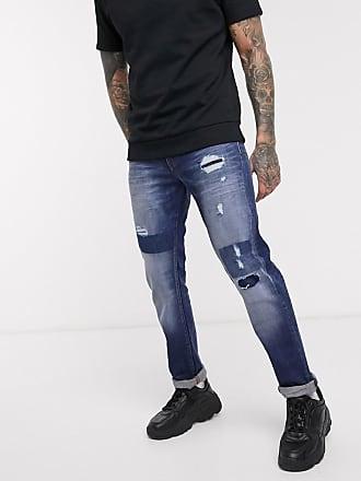 A|X Armani Exchange J13 - Schmal geschnittene Jeans mit Rissen und Flicken in mittlerer Waschung-Blau