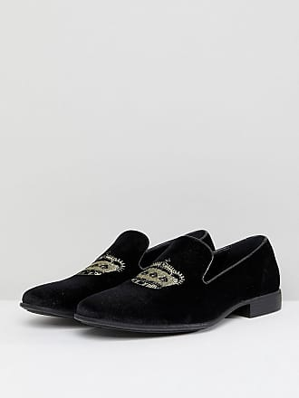 945a9400ff3 Asos Wide Fit loafers in black velvet with crown embroidery - Black